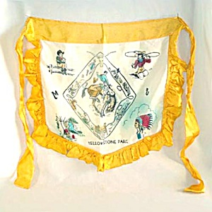 1940s Yellowstone Souvenir Ruffled Satin Apron (Image1)