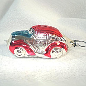 Red Silver Blue Car Automobile Glass Christmas Ornament (Image1)