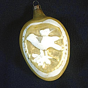 1930s Germany Embossed Dove Glass Christmas Ornament (Image1)