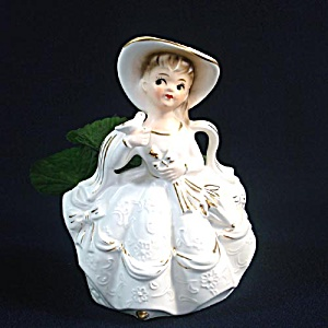 1960s Rubens Lady In White With Bird Figural Planter