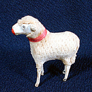 German Antique Woolly Stick Leg Sheep Christmas Putz Toy Figure