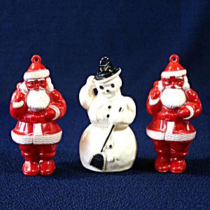 1950s Hard Plastic Snowman Christmas Ornaments Holiday And Seasonal Tias