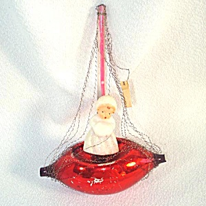 Germany Wired Sailboat With Angel Glass Christmas Ornament (Image1)