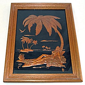 1940s Tropical Topless Pin-up Girl Tooled Copper Relief Framed Picture