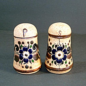 Mexican Tonala Pottery Enameled Stoneware Salt & Pepper Shakers