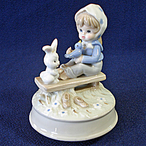 Girl With Bunny, Bluebird Sears Porcelain Music Box Figurine