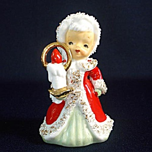 Lefton Angel Christmas Bell With Candle Figurine (Image1)