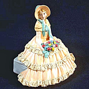 Realistic Chalkware Figurine Victorian Sunbonnet Lady Lace Dress (Image1)