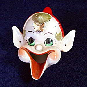 1950s Ceramic Laughing Pixie Elf Christmas Smoker Ashtray