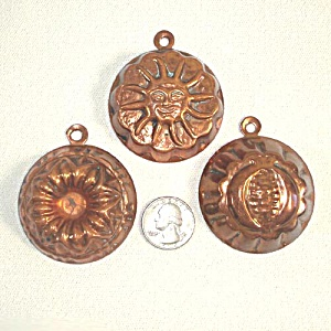 3 Copper Chocolate or Candy Molds Turban, Sun, Flower (Image1)