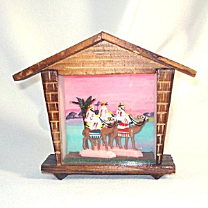 3 Wisemen Christmas Shadow Box Display Scene 1950s Japan