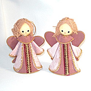 2 Japan Pink Yarn Hair Angel Christmas Ornaments (Image1)