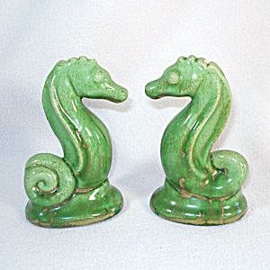 Green Seahorse Pottery Salt And Pepper Shakers