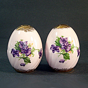 Violets On Pink Porcelain Eggs Salt And Pepper Shakers