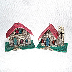 2 Mica Cardboard Christmas Putz Village Ornaments