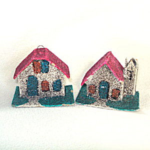 Mica Cardboard Church and House Christmas Putz Village Ornaments (Image1)