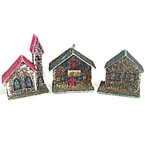 3 West Germany Mica Cardboard Christmas Putz Village Ornaments (Image1)