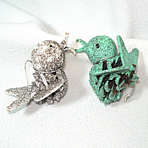 2 Mica Glittered Pinecone Bird Christmas Ornaments
