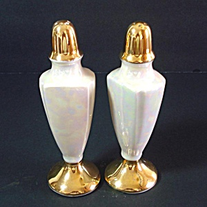 Lusterware And Gold Salt And Pepper Shakers