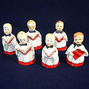 6 Choir Boy Porcelain Bell Christmas Ornaments (Image1)