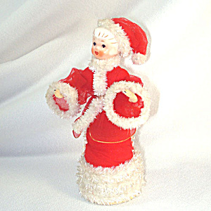 Porcelain Head Red Wired Tulle Chenille Christmas Angel Figure (Image1)