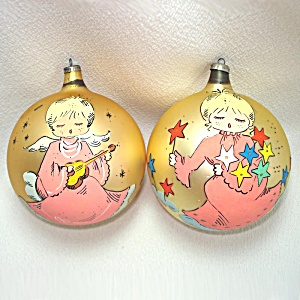 1960s Italy Large Glass Christmas Ornaments Painted Pink Angels