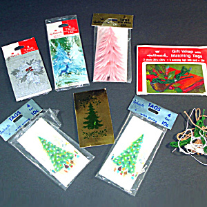 6 Packages Christmas Tree Themed 1960s Gift Tags