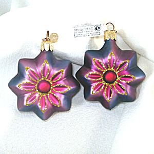 Dept. 56 Pair Purple Blue Glass Flower Christmas Ornaments (Image1)