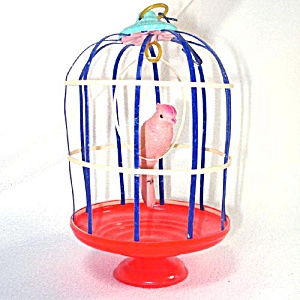 1920s Celluloid Bird In Cage Toy