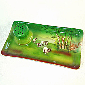 Royal Bayreuth Highland Sheep Hat Pin Holder Attached Dresser Tray (Image1)