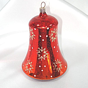 Austrian Big Red Blown Glass Bell Christmas Ornament