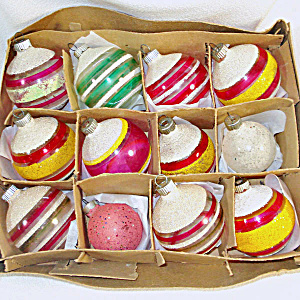 Box Shiny Brite Mica Stripes Unsilvered Christmas War Ornaments