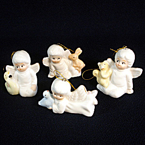 4 Bone China Angels Christmas Ornaments (Image1)