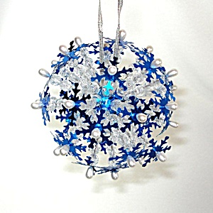 Snowflake Starburst Pin Beaded Sequined Christmas Ornament