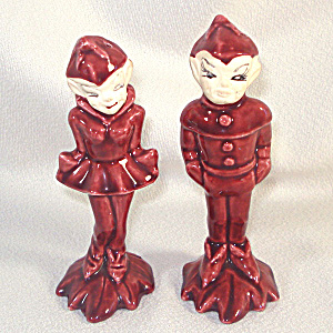 Gilner Pixies Maroon Pottery Salt Pepper Shakers (Image1)