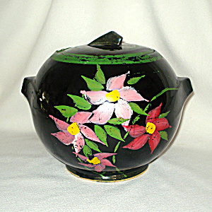 McCoy Pottery Deco Ball Cookie Jar Hand Painted Pink Flowers (Image1)