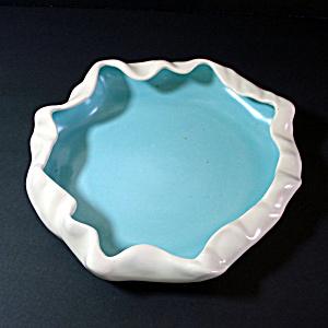 Metlox Poppytrail Turquoise White Low Flower Bowl