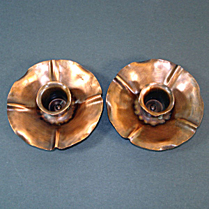 Flower Form Arts Crafts Craftsman Studios Copper Candlesticks