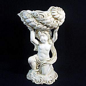 Inarco Ceramic Cherub Holding Seashell Soap Dish Planter Vase (Image1)