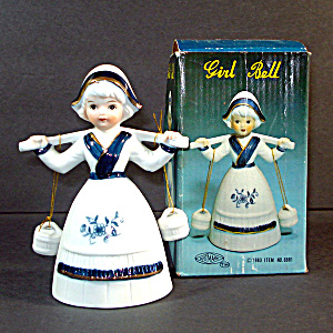 Artmark Porcelain Bisque Dutch Girl Bell Mint in Box (Image1)