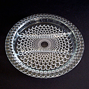 Crystal Bubble Or Thousand Eye 3 Part Glass Relish Dish