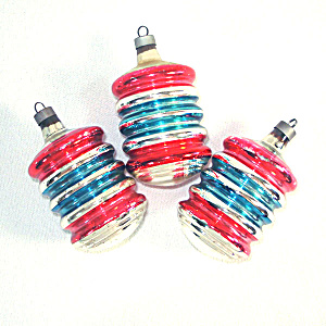 Premier Red Blue 1940s Ringed Barrels Christmas Ornaments (Image1)