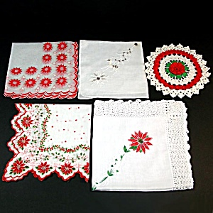 4 Christmas Hankies Plus Bonus Christmas Doily