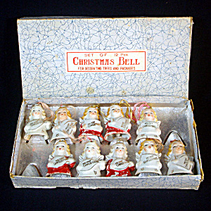 Ten 1950s Porcelain Christmas Angel Bell Ornaments in Box (Image1)