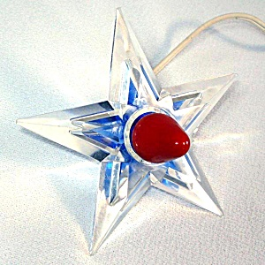 Blue Noma Glo Star Lighted Lucite Christmas Tree Topper