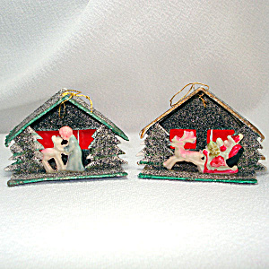 Mica Cardboard Stable Scene Angel Santa Christmas Ornaments (Image1)
