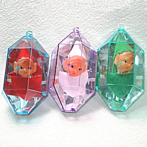 Jewel Brite Pixie Elf 3d Plastic Christmas Ornaments