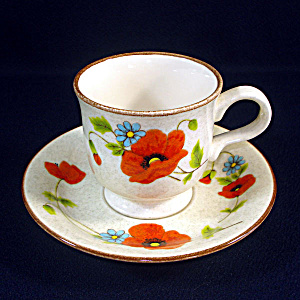 Mikasa Poppy Parade Set 5 Footed Cups And Saucers