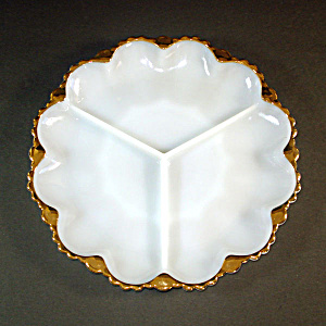 Fire King Milk White 3 Section Divided Relish Tray Gold Trim