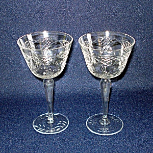 2 Floral Lattice Cut Crystal 4 Ounce Claret Cocktail Goblets